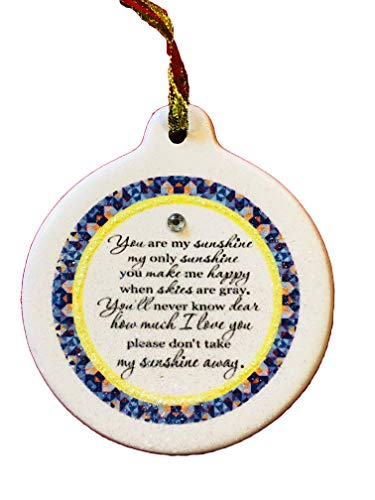 (Laurie G Creations You are My Sunshine 2018 Porcelain Rhinestone Ornament Make Me Happy Skies are Grey)