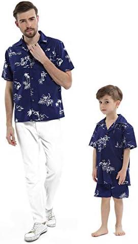 Camisa a Juego con Camisa de Manga Corta Chico Hijo Hawaiian Luau Azul Marino Flamenco clásico: Amazon.es: Ropa y accesorios