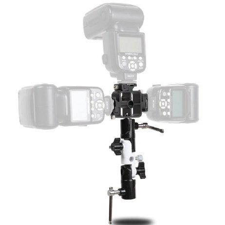 U-shape Type Swivel Flash Bracket Umbrella Holder Light Stand Adapter + Triple Head Hot Shoe Mount Adapter for Nikon Canon Olympus Flash Speedlight Coolbuy112 4332246552