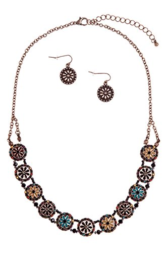 GlitZ Finery ROUND ORNATE ACRYLIC FLOWER ACCENT NECKLACE SET (Brown Multi)