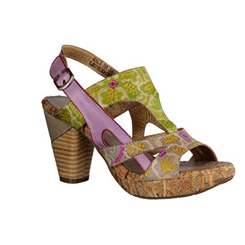 Laura Vita Bali- Damenschuhe Sandalette/Sling, Mehrfarbig, Leder, Absatzhöhe: 70 MM Gris