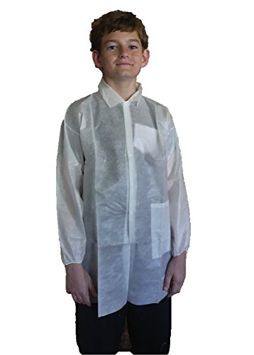 Makerspace Lab Disposable Lab Coats, White, Child Medium, 10 Pack -