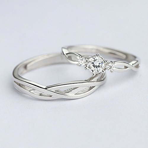 AnaZoz His Hers Couples Rings Set S925 Sterling Silver Zirconia Engagement Ring Set Mens Matching Band by AnaZoz (Image #5)