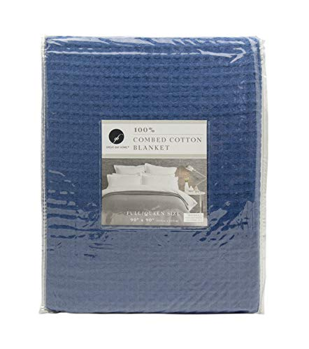 Great Bay Home 100% Cotton Waffle Weave Blanket. Havana Collection (Full/Queen, Navy) (Bedspread Weave Waffle)