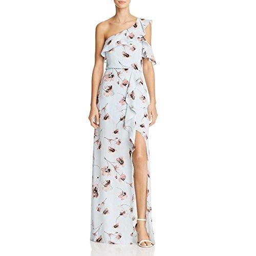 BCBG Max Azria Womens Maud Floral Print One Shoulder Evening Dress Blue 4