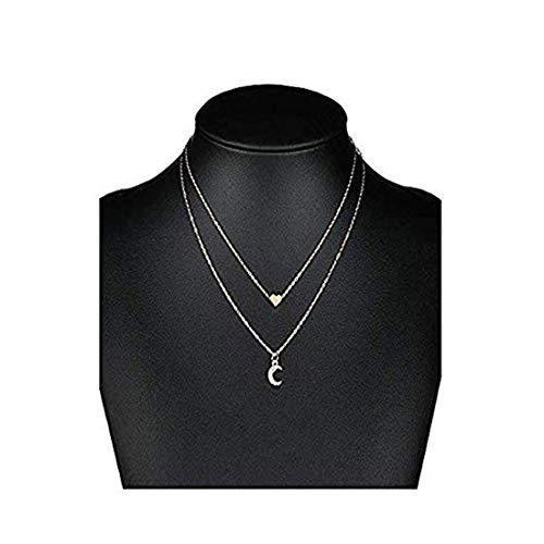 Double Pendant Necklace - Little sheep Stylish Double Love Moon Pendant Necklace with Thin Long Chain Pendant for Women Lady Girl