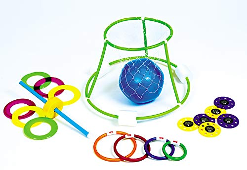 Multi-Color 4-in-1 Fun Pack Swimming Pool Games - Basketball, Ring Toss, Dive Rings and UFOs by Swim Central