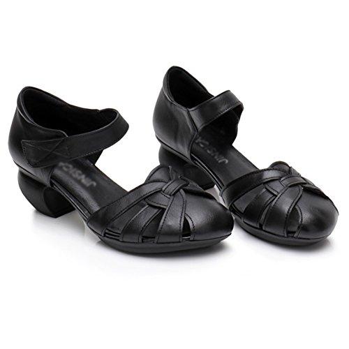 PENGFEI Verano Sandalias De Las Mujeres Medio Talón Zapatos De Tacón Grueso Fondo Suave Vendimia De Edad Mediana, 3 Colores (Color : Amarillo, Tamaño : EU36/UK4.5/US6/230) Negro