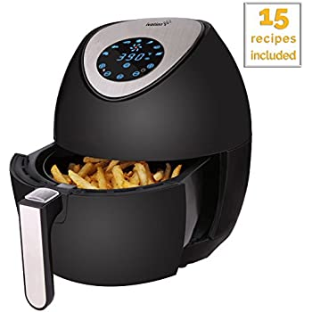 Ivation 1400W Electric Air Fryer for Healthy Low-Fat Air Frying with Little to No Oil - 3.4 QT - Digital LED Touch Display - 7 Cooking Presets Menu - Precise Timer and Temperature Control - Black