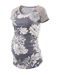 Liu & Qu Women's Maternity Raglan Sleeve Shirt Tops Pregnancy T-Shirt Clothing