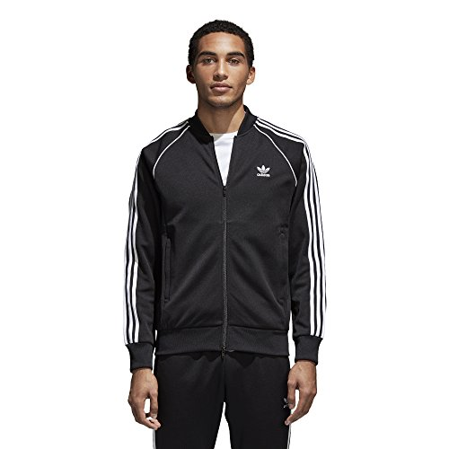 (adidas Originals Men's Superstar Track Jacket, Black, L)