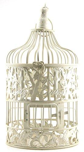 Metal Hanging Standing Bird Cage, Antique Cream White, Round (Small 7.5x18)