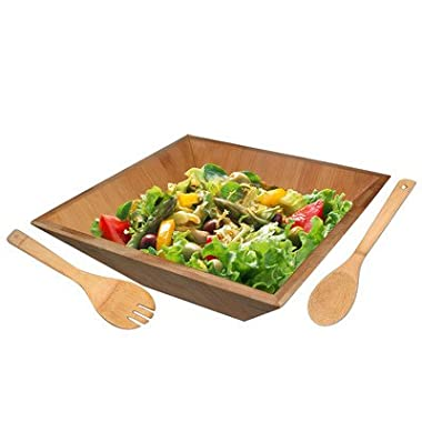 Home Basics Bamboo Salad Bowl with Serving Utensils
