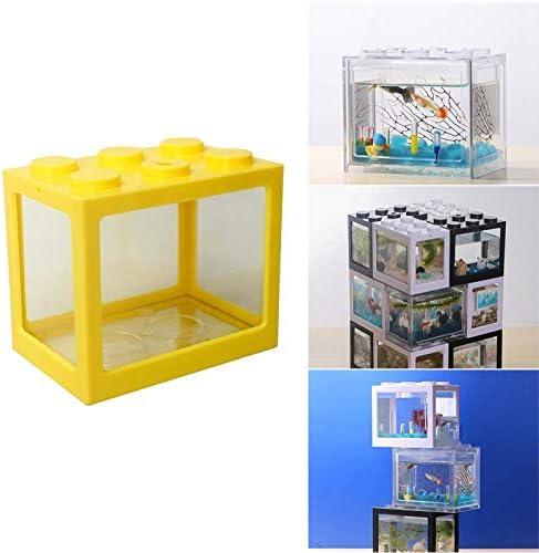 Serenable Mini pecera, pequeña pecera Betta pecera de acuario para medusas peces dorados , caja de decoración de -Varios colores 8