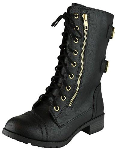 Cambridge Select Women's Lace-Up Round Toe Buckle Zipper Chunky Heel Combat Boot,10 B(M) US,Black (Lace Low Heel Heels)