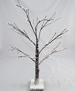 Artificial LED Snowy Twig Christmas Tree - 60cm, Brown & White ...