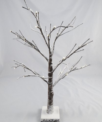 Artificial LED Snowy Twig Christmas Tree - 60cm, Brown & White, Pre ...