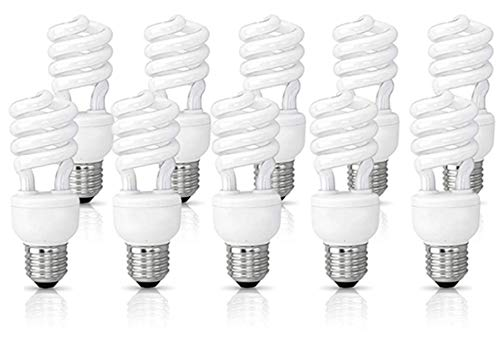 (10 Pack) Circle 13 Watt (60 Watt) Compact Fluorescent Light, Daylight 6500K, Mini Spiral Medium Base CFL Light Bulbs