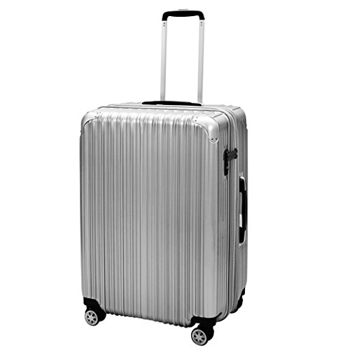 Icase Travel Luggage, Zipper Frame Expandable Hard Shell TSA Lock Suitcase Spinner Wheels 20 inch Cabin Trolley  Silver