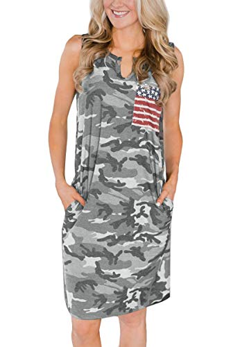 Womens 4th of July Pocket American Flag Casual Loose Patriotic Camo Tank Dress US Flag XL -