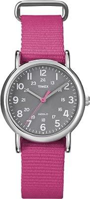 Timex Women's T2N834 Weekender Mid-Size Slip Thru Pink Nylon Strap Watch