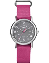 Timex Womens T2N834 Weekender Mid-Size Slip Thru Pink Nylon Strap Watch