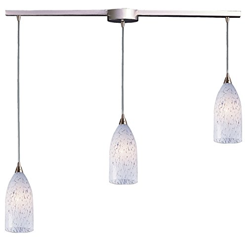 Verona 3 Light Pendant in Satin Nickel and Snow White Glass