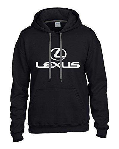 lexus-white-logo-on-black-hooded-sweater-sweatshirt-hoodie-size-medium