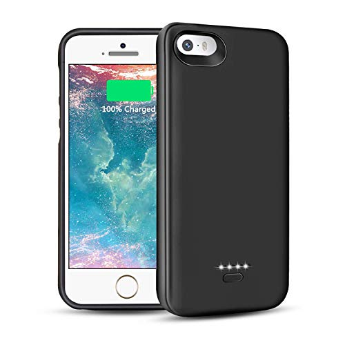 LCLEBM Battery Case for iPhone 5 5S Se, 4000mAh iPhone 5S Battery Case Portable Ultra Slim Rechargeable Extended Charging Case for iPhone 5/5S/SE Power Protective Charger Case (Black)