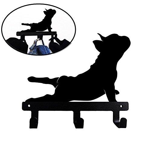 French Bulldog Merchandise - French Bulldog Shaped Black Coated Metal Key Hook Bathroom Clothes Towel Hook Wall Mounted Kitchen Heavy Duty Door Hanger (Yoga Frenchie)