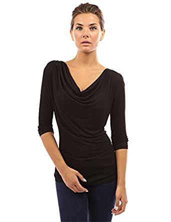 PattyBoutik Women's Cowl Neck 3/4 Sleeve Top (Black S)