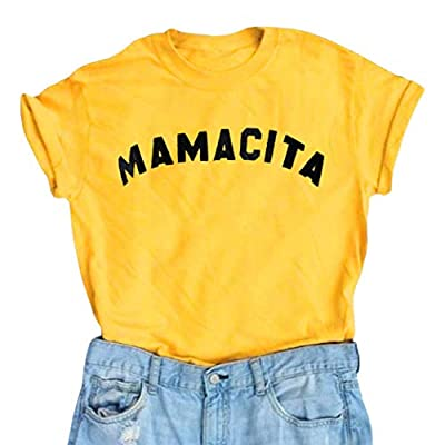 YEXIPO Women's Mamacita T Shirt Short Sleeve Funny Graphic Tees Letter Print Party Summer Casual Tops