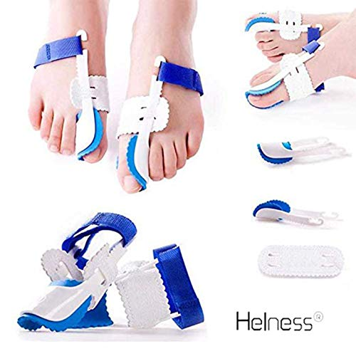 HELNESS Orthopedic Bunion Corrector | Adjustable Toe Spacers, Big Toe Straightener and Protectors | Bunion Splints, Toe Separators for Pain Relief in Big Toe Joint, Hallux Valgus & Hammer Toe