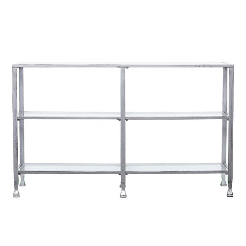 Southern Enterprises Jaymes 3 Tier Glass Console Media Table, Silver Frame Finish For Sale