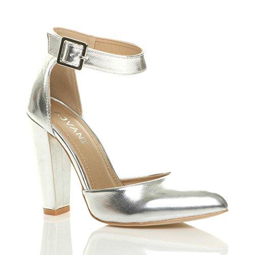 Damen Hochblockabsatz Mode Schnalle Spitz Pumps Knöchelriemen Schuhe Größe  Silbermetallic 9437301ab5