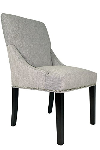 Sole Designs, Inc. Sole Designs Marie Collection Lucky Upholstered Spring Seat Double Dow Dining Chairs (Set of 2) with Nailhead Trim, Platinum