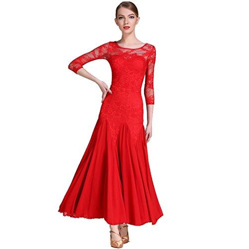 Pizzo chiffon Gonna Top Sala Ballo Red Set Vestito l Prestazione Da Valzer Donne Costume S Divisa Per Wqwlf E Ballo B7xqzw86w