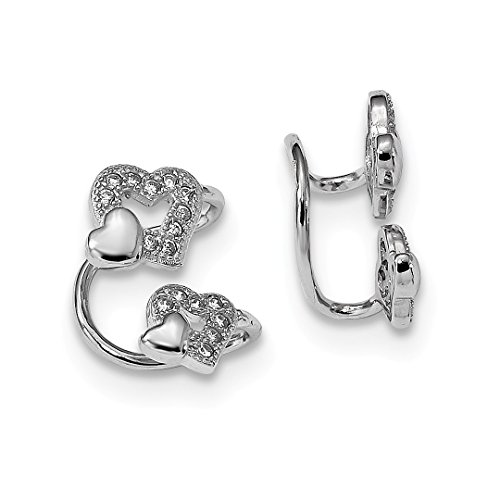 925 Sterling Silver Cubic Zirconia Cz Double Heart Left Cuff Earrings Love Non Pierced Fine Jewelry Gifts For Women For Her ()