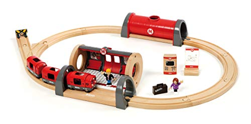 (BRIO 33513 Metro Railway Set | 20 Piece Train Toy with Accessories and Wooden Tracks for Kids Age 3 and)