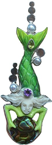 Charming Mermaid Silver Pendant Mabe Pearl Amethyst Peridot Sea Green - Beach Goddess - Perfect Gift