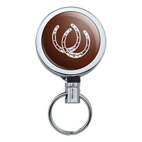 (Horseshoe Lucky Double Cowboy Brown Heavy Duty Metal Retractable Reel ID Badge Key Card Tag Holder with Belt Clip)