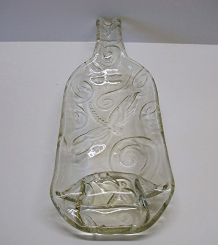 Dragonfly Embossed Shallow Bowl or Serving Dish Up Cycled Clear Wine Bottle