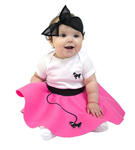 [Hip Hop 50s Shop Infant Poodle Skirt 2 Piece Costume Set, Hot Pink, 12 Mo] (Homemade Kids Halloween Costumes Unique)