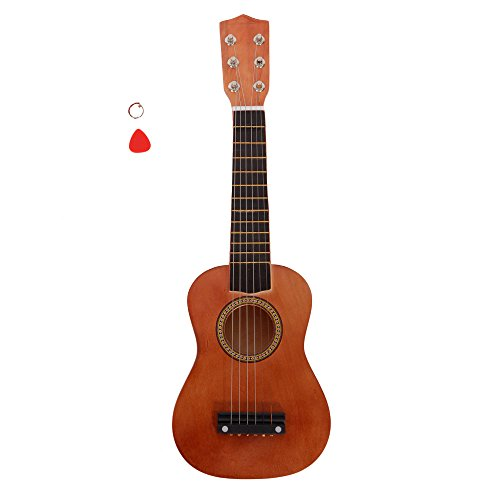 Glarry 21 Inch 6 String Kid Acoustic Guitar Musical Instruments Toys for Beginners with String and Pick (Coffee)