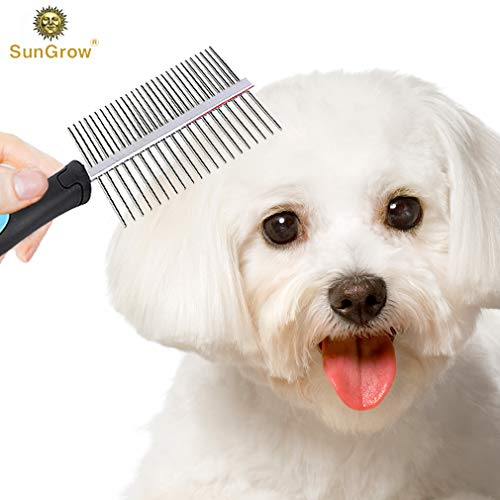 SunGrow Double-Sided Comb for Dogs & Cats - Fur Detangling Tool - Grooming & Massage Comb - Removes Loose Hair, Knots & Mats - Rounded Stainless Steel Teeth - Fine Pins Prevent Scratching