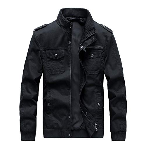Casual Outdoor Windproof Coat Windbreaker Military Jackets for Men(812Black-M)