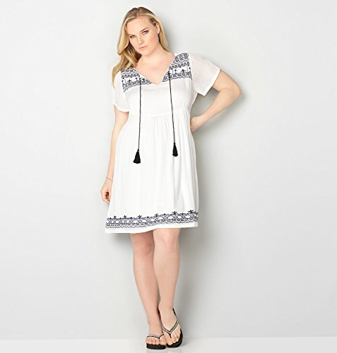 AVENUE-Womens-Embroidered-Gauze-Empire-Waist-Dress