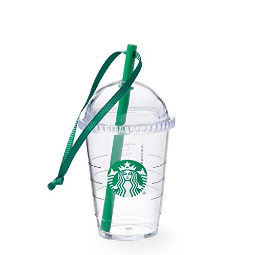 Starbucks Holiday Ornament Mini Clear Travel Cup with Green Straw