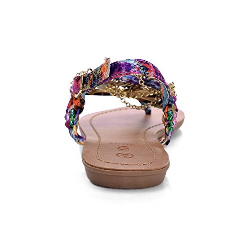 AmoonyFashion Womens Assorted Color Blend Materials No Heel Split Toe Buckle Sandals Multicoloured qWhoml
