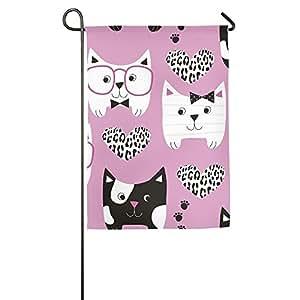 Carton Kitty Gato Bandera de Jardín Casa Decoración Patio Banderas para vacaciones Fiesta Decoración de la casa al aire libre